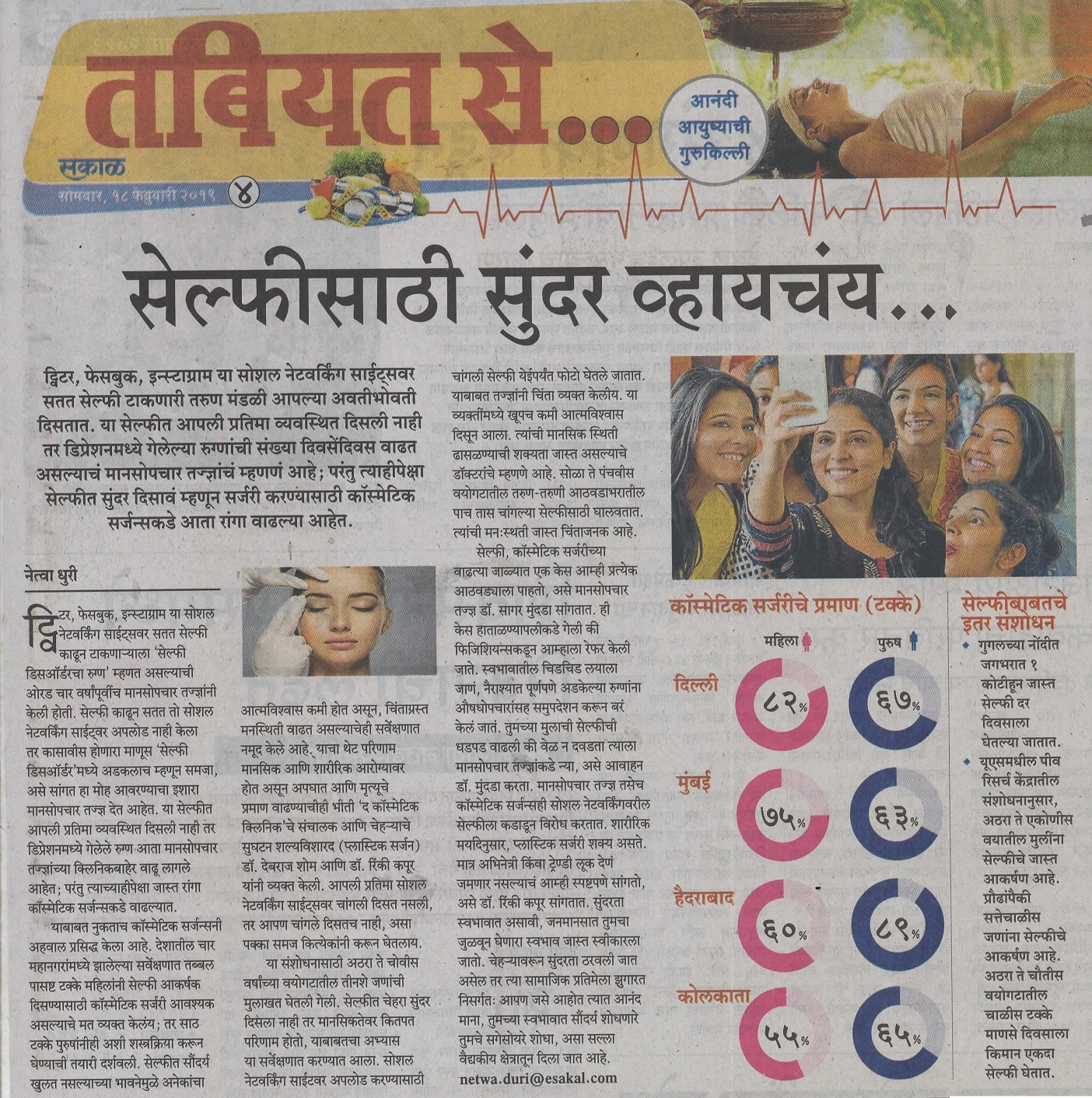 Selfie Dysmorphia increase in India - Sakal